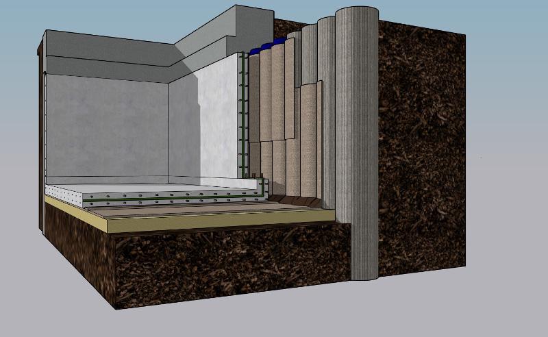 Ground gas membrane 3d design schematic